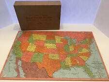 Joseph K. Straus Jigsaw Puzzle Map of United States Cut on State Lines Vintage
