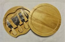 New Cheese Wood Cutting Board With 4 Piece Knife Fork Shave and Spatula