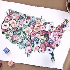 Original Hand painted USA floral map, Botanical painting,Country flowers decor