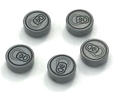 Lego Lot of 5 New Flat Silver Tiles Round 1 x 1 with Soda Pop Can Top Pattern