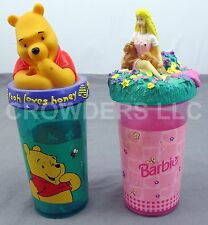 Winnie the Pooh and Barbie Children Drinking Cup w/ Character Topper Zak Design