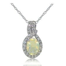 925 Sterling Silver Ethiopian Opal and White Topaz Knot Necklace