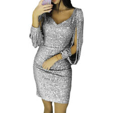 New Women Sequined Long Sleeve Tassel Bodycon Party Club Cocktail Evening Dress