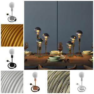Modern Table Lamp – Brass Copper Silver – Fabric Cable LED – Industrial UK Plug