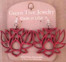 LOTUS laser-cut wood earrings Green Tree Jewelry WINE blossom flower USA 1380