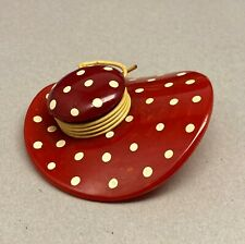 Rare Vintage Mottled Cherry Red Bakelite Hat with Painted White Polka Dots