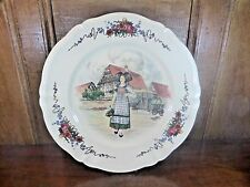 "FRENCH Sarreguemines OBERNAI round  PLATTER - 12.5""  signed H Loux"