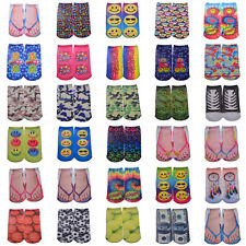 Pair Casual Women Men Lovely Expression Low Cut Ankle Socks Cotton 3D Printed