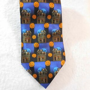 "Halloween Necktie Haunted House Pumpkins  Bats 58"" x 4"" Tie Steven Harris"