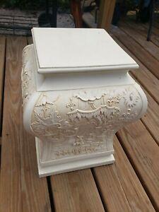 Vintage ITALY RARE Beautiful Asian Stone Ceramic? Plaster Column Plant Stand