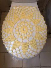 Handmade Crochet Round Toilet Lid/Seat Cover Yellow #7