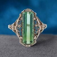 Handgemachte Smaragd Topas Vintage geschnitzte gemusterte Damen M2R1 Ring F8T7