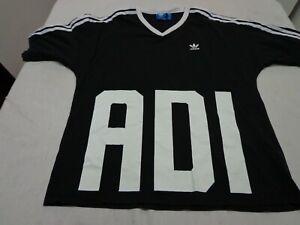 Adidas Trefoil Logo V Neck  T-Shirt Size Medium  Black Tee Cotton
