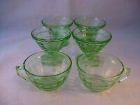 Vintage Hocking Depression Glass Vaseline Green Block Optic 4 Sherbet 2 Teacups