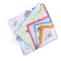 10x Weinlese-hübsche Blumenblumen-Taschentuch-Dame-Frauen-Kind-Baumwolle HankyPD