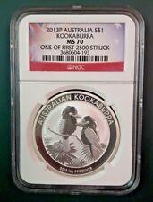 2013 Australia Kookaburra 1 oz 999 Silver coin NGC MS 70 - 1 of 1st 2500 struck