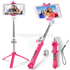 Pink Extendable Selfie Stick Monopod Remote Bluetooth Shutter For iPhone 8 Plus
