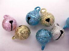 100 Mixed Color Stardust JINGLE BELLS~Beads Charms 8mm Christmas Bell