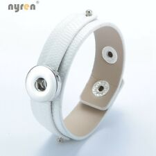 White PU Learher Charms Bracelet Snaps Jewelry For 18mm Snap Button SZ0370k-b