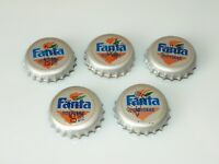 LOT of 5 Vintage 90s. Collectible Fanta Orange bottle cap Cyrillic Inscription
