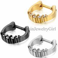1-3pcs Stainless Steel Hinged Septum Clicker Nose Ring Hoop Piercing Jewelry