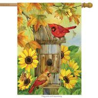 """Cardinals & Sunflowers Autumn House Flag Birds Fall Leaves 28"""" x 40"""""""
