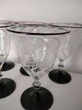 Lauscha Fadenglas, Weingläser, Art Deco, Schwarz (Lila) / Weiß, Mundgeblasen