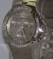 New Mens movado se  S E silver 0604769 1.00ct. apx.custom set real Diamond watch