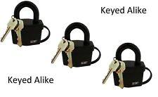 """3 Keyed Alike Locks 2-1/2"""" 64mm Weatherproof Padlock"""
