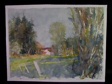 Hermann FISCHER (1905-1991 Augsburg) - Landschaft mit Gehöft - expressives Aqua