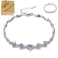 Edler Herz Damen-Armband 925 Silber weiße lila Zirkonia Steine Geschenke Frauen