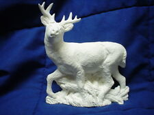 "C161 - 6""  Ceramic Bisque Realistic Deer with Grass/Wood- Ready to Paint"