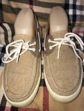 VANS OFF THE WALL LOAFERS|WOMENS BROWN TEXTILE UPPER LACE UP SIZE 6.5M