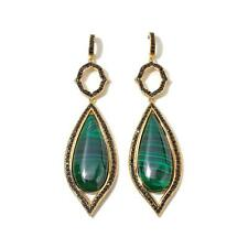 RARITIES CAROL BRODIE GREEN MALACHITE AND BLACK SPINEL VERMEIL EARRINGS HSN $259