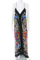 Nicole Miller Collection Womens Tropical Print Maxi Dress Black Silk Size Petite