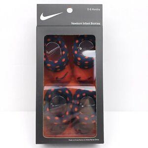 Nike Newborn Baby Infant Booties Socks Red Polka Dots Black 0-6 Months