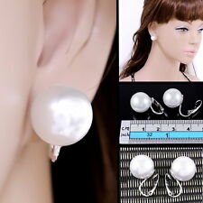 "#E122P Non-pierced CLIP ON BIG 0.5"" Round White Faux Pearl 14mm Earrings Women"