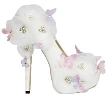 Womens Wedding High Heel Bridal Pumps Butterfly White Lace Princess Slip On Shoe