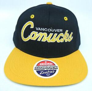 VANCOUVER CANUCKS NHL VINTAGE SNAPBACK RETRO 2-TONE ZEPHYR SCRIPT CAP HAT NEW!