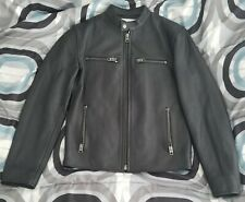 New Coach Leather Cafe Racer Jacket Men XS Schott Black Rrl IH Motorcycle Coat