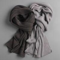 Men Solid Knit Scarf Faux Cashmere Unisex Thick Warm Winter Long Size Scarves