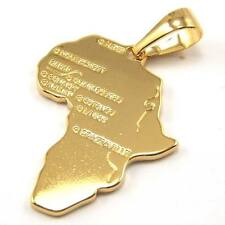 "REAL STUNNING 18K YELLOW GOLD GP 1.7"" PENDANT AFRICA MAP SOLID FILL GEP JEWELRY"