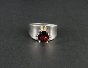 Garnet Dark Red Stone Round Plain Band Size 7 Sterling Silver 925 Ring