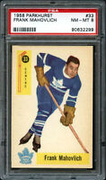 1958 Parkhurst FRANK MAHOVLICH Hockey Card #33 NEAR-MINT Graded PSA 8