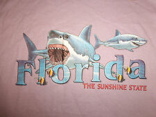 "Florida ""The Sunshine State"" Tropical Fish Shark Lavender Graphic T Shirt - M"