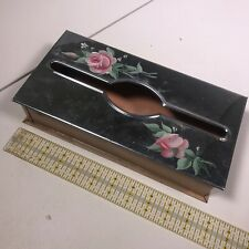 Vintage Metal Toleware Hand Painted Tissue Box for Vanity or Wall Mount [DE12]
