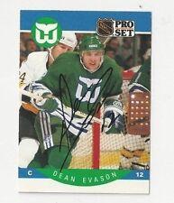90/91 Pro Set Autographed Hockey Card Dean Evason Hartford Whalers