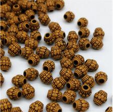 100 Imitation   Holzperlen , braun  Schmuck basteln Perlen