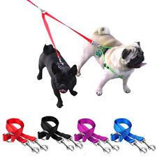 1 Lead 2 Ways Double Dog Leash Nylon Coupler Twin Dog Walking Leash Small Medium