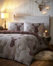 Tartan Stags Reversible Duvet Quilt Cover Bed Set Including Matching Pillowcases
